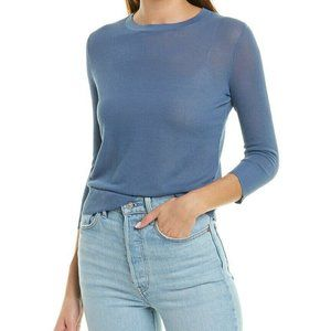 NEW French Blue Vince Sheer Textured Knit 3/4 Leng